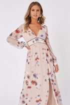Little Mistress Flower Patterns Casual Style Maxi V-Neck Long Sleeves Long