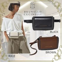 BRUNELLO CUCINELLI 2WAY Plain Leather Party Style Elegant Style Crossbody
