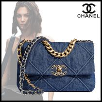 CHANEL Casual Style Denim Chain Plain Logo Shoulder Bags