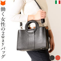 DEL CONTE Casual Style 2WAY Plain Leather Elegant Style Crossbody