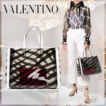 VALENTINO Zebra Patterns Casual Style A4 2WAY Crystal Clear Bags