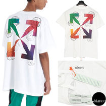 Off-White Crew Neck Unisex Street Style Cotton Short Sleeves Oversized