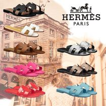 HERMES Oran Unisex Leather Logo Sandals Sandal