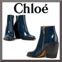 Chloe Plain Leather Block Heels Ankle & Booties Boots