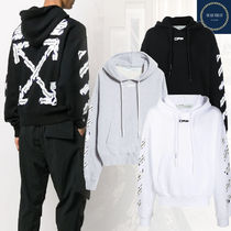 Off-White Pullovers Unisex Street Style Long Sleeves Cotton Logo
