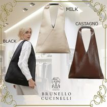BRUNELLO CUCINELLI A4 Leather Office Style Elegant Style Logo Totes