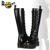 Dr Martens Platform Lace-up Casual Style Street Style Plain Leather