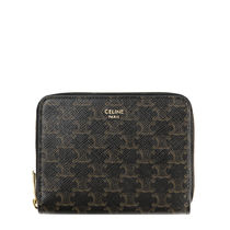 CELINE Triomphe Canvas Calfskin Leather Small Wallet Logo Coin Cases