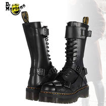 Dr Martens Platform Round Toe Lace-up Casual Style Street Style Plain