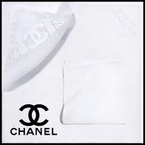 CHANEL Cotton Bridal Logo Handkerchief