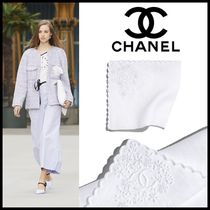 CHANEL Flower Patterns Linen Bridal Logo Handkerchief