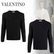 VALENTINO Crew Neck Wool Long Sleeves Plain Long Sleeve T-shirt