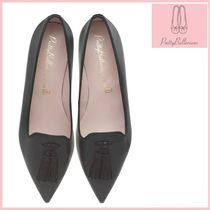 Pretty Ballerinas Plain Leather Office Style Formal Style  Pointed Toe Shoes