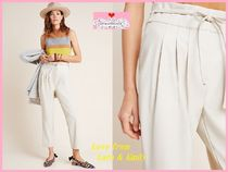 Anthropologie Casual Style Plain Long Elegant Style Cropped & Capris Pants