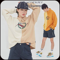 ROMANTIC CROWN Casual Style Unisex Bi-color Long Sleeves Oversized Logo