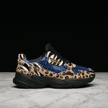 adidas FALCON Leopard Patterns Rubber Sole Suede Blended Fabrics