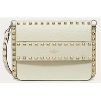 VALENTINO Calfskin Studded 3WAY Plain Leather Party Style Office Style