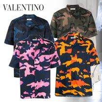 VALENTINO Camouflage Cotton Short Sleeves Front Button Shirts