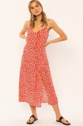 Flower Patterns Casual Style Long Elegant Style Dresses