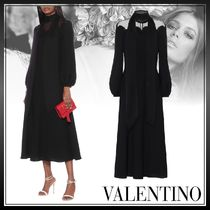 VALENTINO Silk Long Sleeves Plain Long Party Style Elegant Style