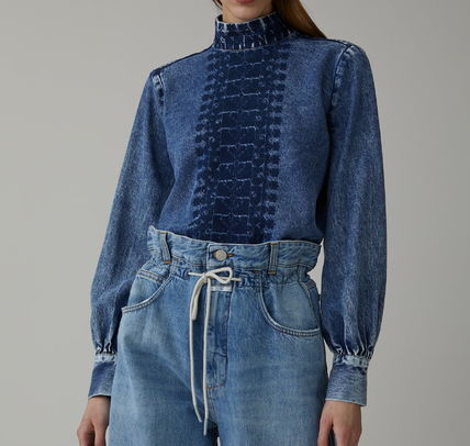 Short Casual Style Denim Long Sleeves Plain Cropped