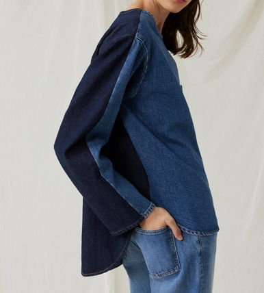 Casual Style Denim Long Sleeves Plain Cotton Tops