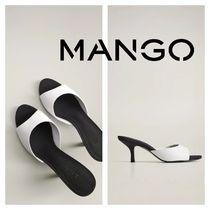 MANGO Open Toe Round Toe Casual Style Bi-color Leather Pin Heels