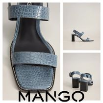 MANGO Open Toe Square Toe Casual Style Sheepskin Block Heels