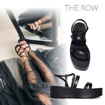 The Row Open Toe Platform Casual Style Plain Leather Elegant Style