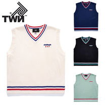 TWN Pullovers Unisex Street Style Logo Vests & Gillets