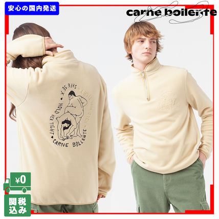 Pullovers Unisex Street Style Long Sleeves Shearling Logo