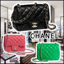 CHANEL 2020 SS MINI FLAP BAG black green pink shoulder bags