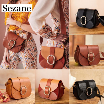 Plain Leather Purses Elegant Style Logo Bucket Bags