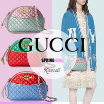 GUCCI Casual Style Bi-color Leather Party Style Elegant Style