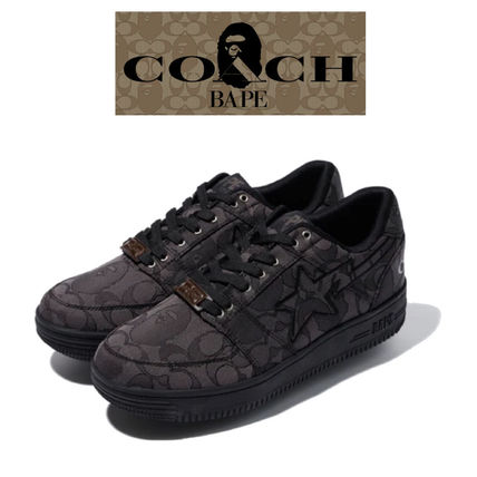A BATHING APE Unisex Street Style Collaboration Logo Sneakers