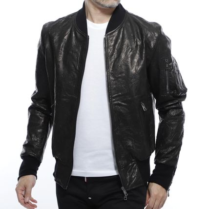 Short Plain Leather MA-1 Bomber Jackets