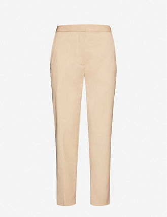 Casual Style Wool Plain Long Office Style Pants
