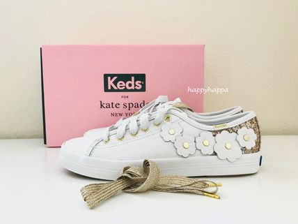 kate spade new york Low-Top Plain Leather Low-Top Sneakers