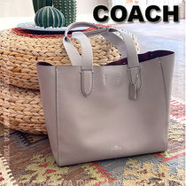 Coach Unisex A4 Plain Leather Office Style Totes