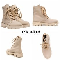 PRADA Rubber Sole Casual Style Plain Logo Ankle & Booties Boots
