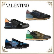 VALENTINO Camouflage Blended Fabrics Studded Leather Logo Sneakers