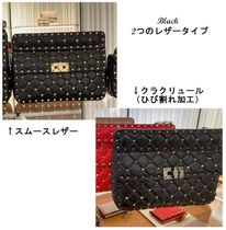 VALENTINO Casual Style Lambskin Studded 3WAY Plain Leather Party Style