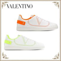 VALENTINO Studded Plain Leather Logo Sneakers
