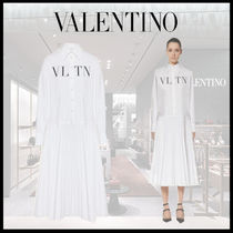 VALENTINO Long Sleeves Cotton Medium Shirt Dresses Logo Front Button