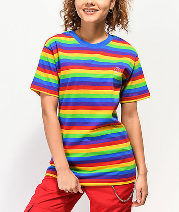 Stripes Street Style Short Sleeves Logo T-Shirts