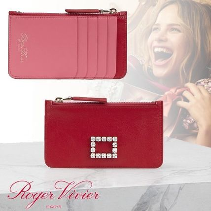 Heart Bi-color Leather With Jewels Long Wallet  Small Wallet