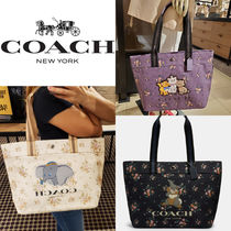 Coach Casual Style Canvas A4 Other Animal Patterns Logo Totes