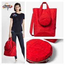 Desigual Flower Patterns Casual Style 2WAY Logo Totes