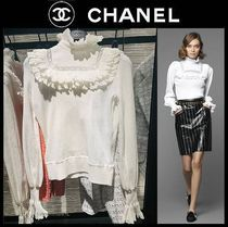CHANEL Casual Style Long Sleeves Plain Cotton Medium Party Style