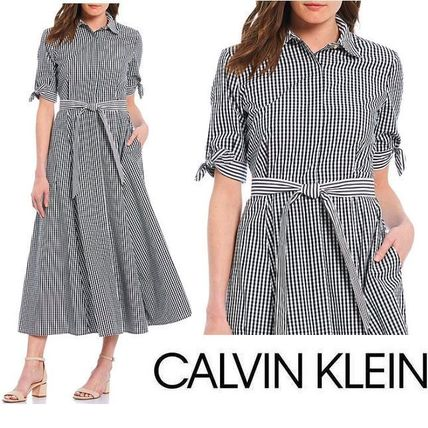 Gingham Casual Style Flared Cotton Short Sleeves Party Style